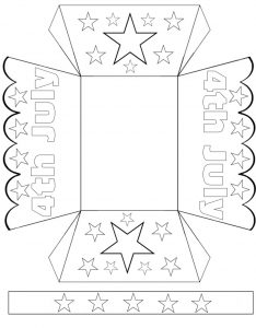 Printable basket for children to color and craft for July Fourth