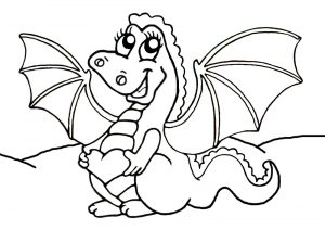 Cute dragon to print and colour in