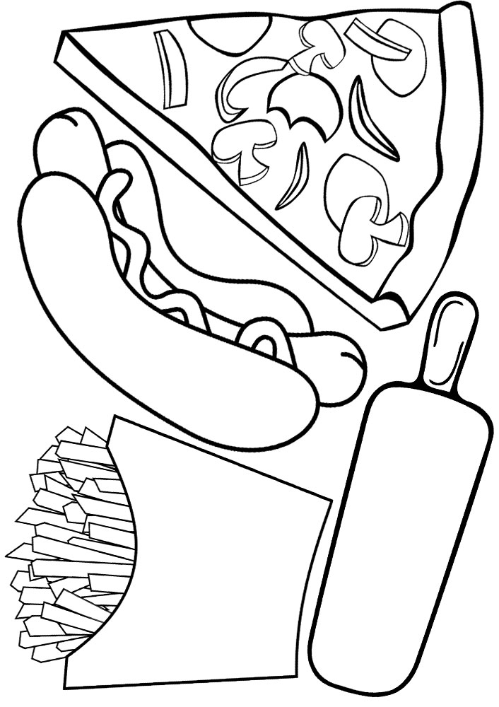 Fast food kids' colouring