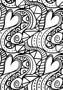 Printable heart paisley colouring page