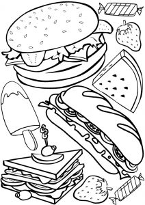Snacks printable colouring
