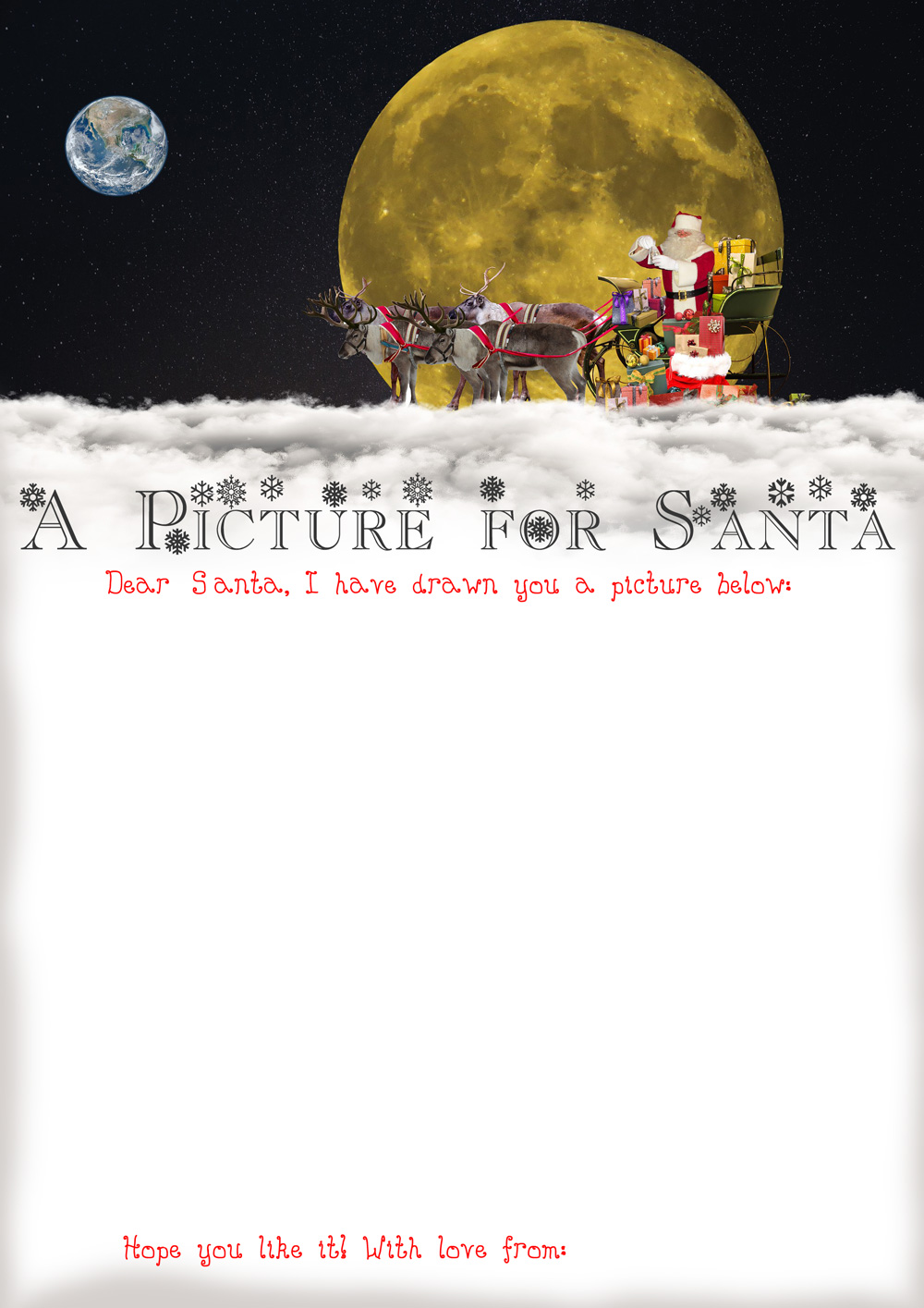 Printable resource with space for your child to draw Santa a picture