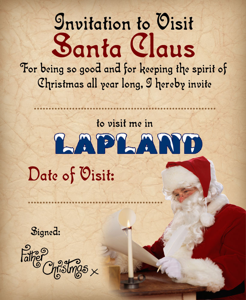 invitation to lapland from santa