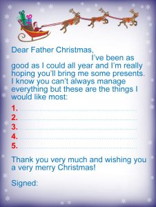Free Printable letter to Father Christmas