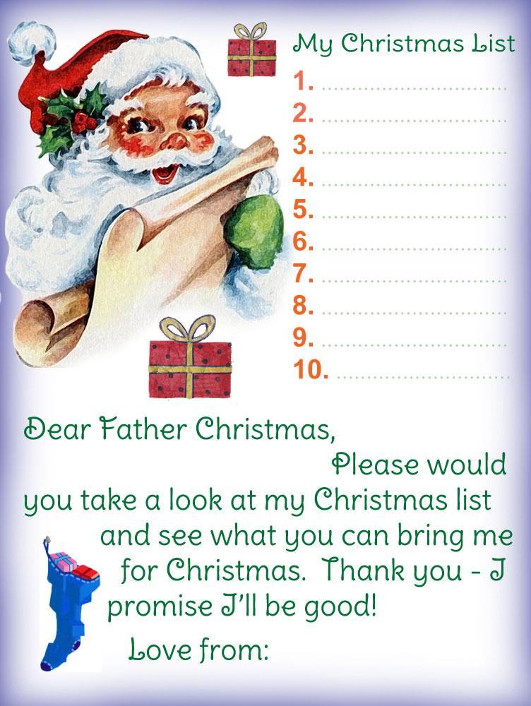 Printable letter to Father Christmas template with list