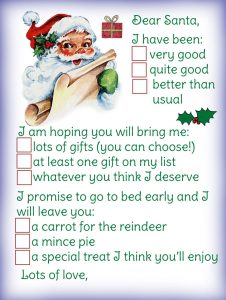 Letter to Santa where child can select answers