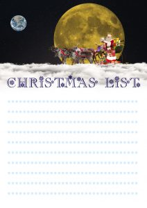 An attractive Christmas list to print and fill in