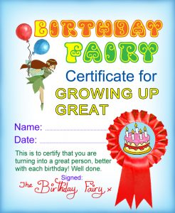 Certificate from the Birthday Fairy for Growing up Great