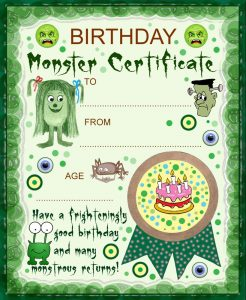 Printable monster birthday certificate