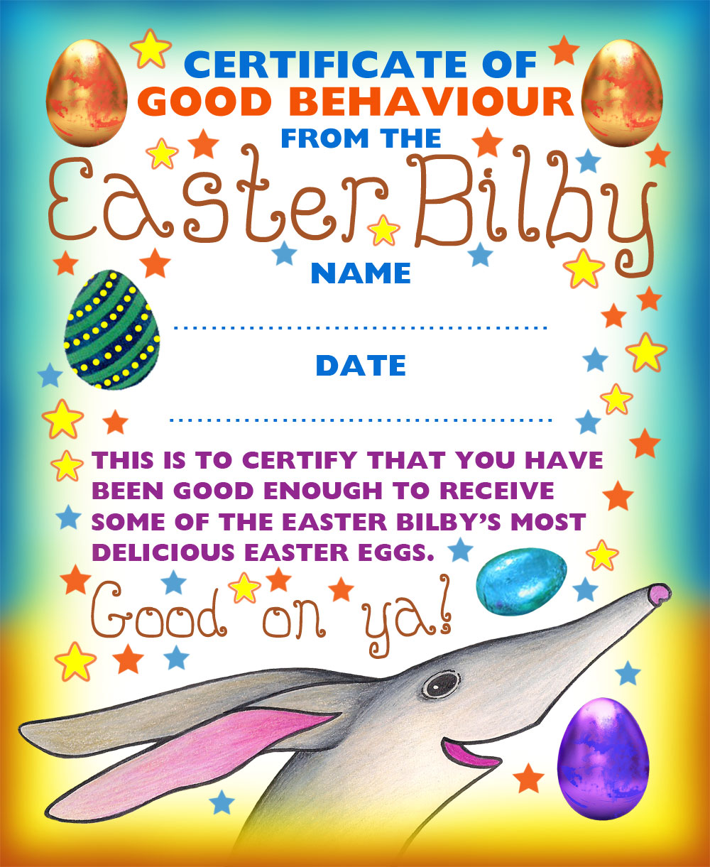 A certificate of good behaviour from the Easter Bilby