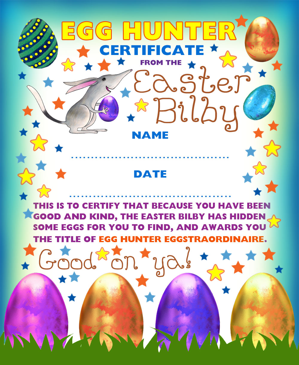Egg Hunting Certificate from the Easter Bilby