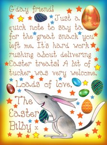 Letter from the Easter Bilby thanking you for the snack