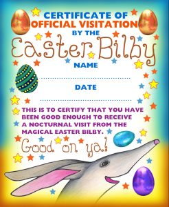 A certificate of official visitation from the Easter Bilby