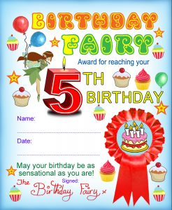 Award from the Birthday Fairy for reaching your fifth birthday
