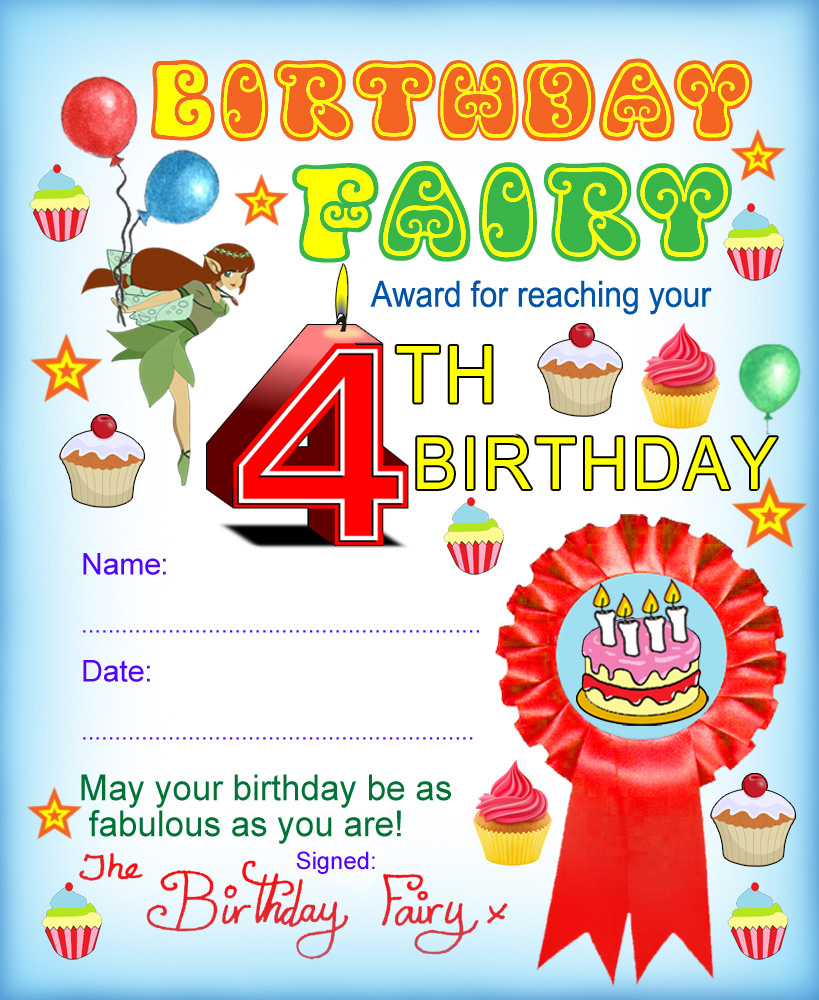 Award from the Birthday Fairy for reaching your fourth birthday