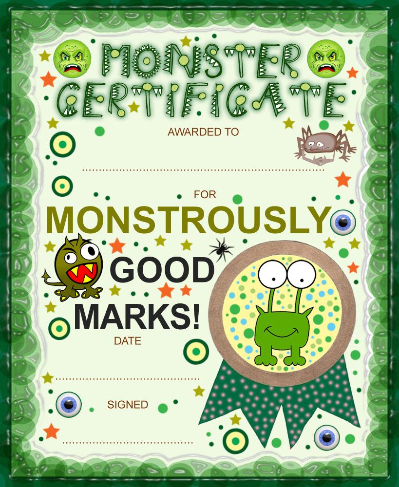 Monster certificate for good marks