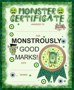 Monster certificate for good marks