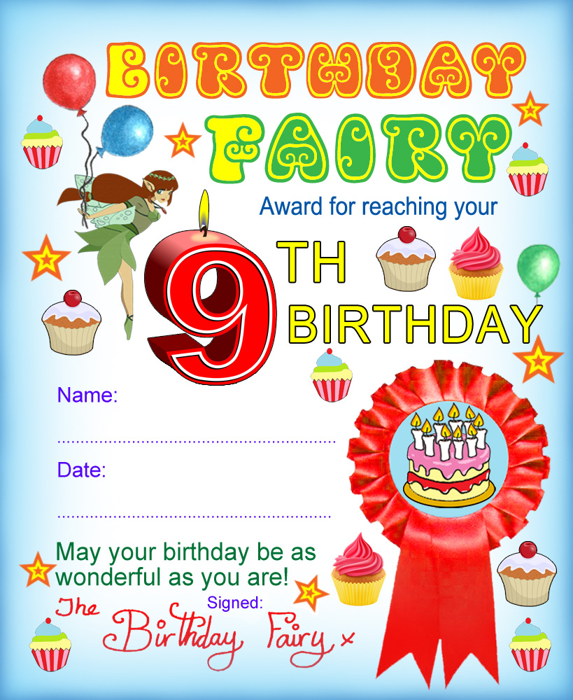 Award from the Birthday Fairy for reaching your ninth birthday