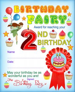 Award from the Birthday fairy for reaching your second birthday