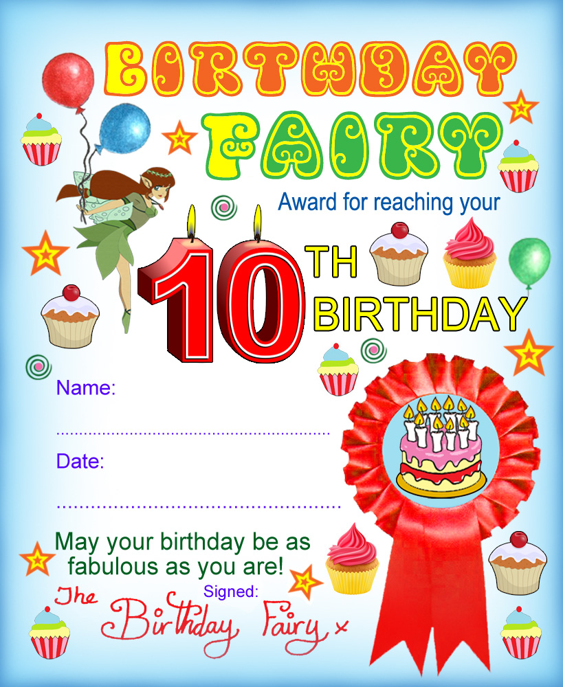 Award from the Birthday Fairy for reaching your tenth birthday