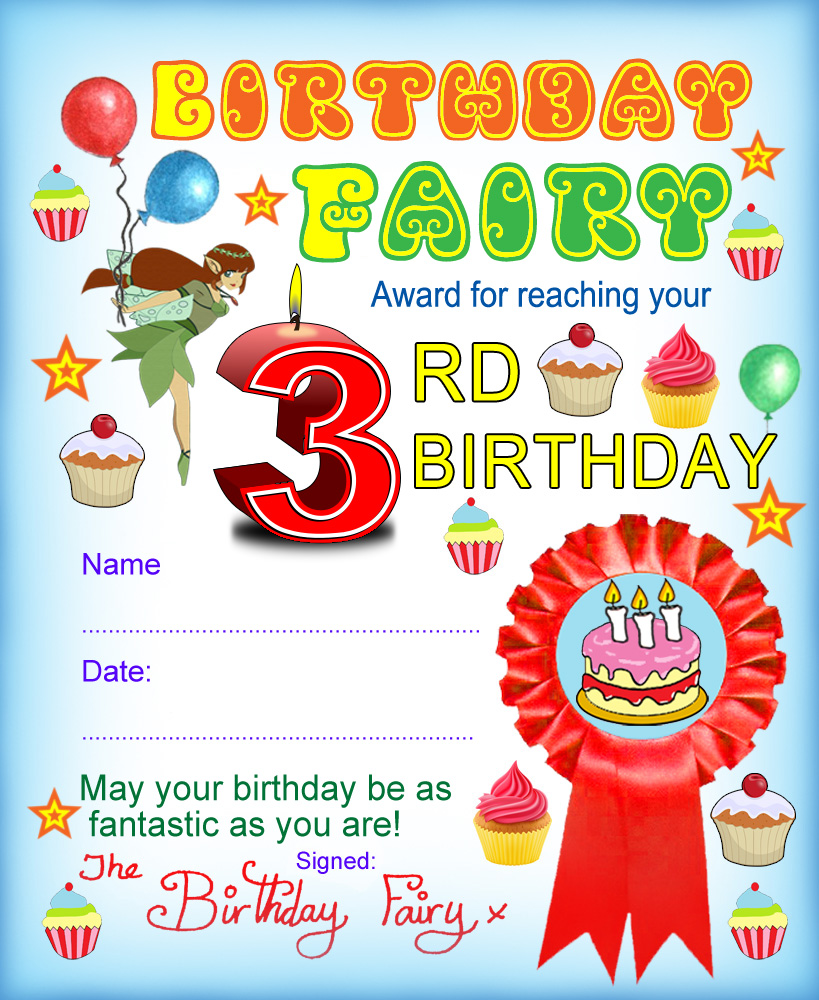 Award from the Birthday Fairy for reaching your third birthday