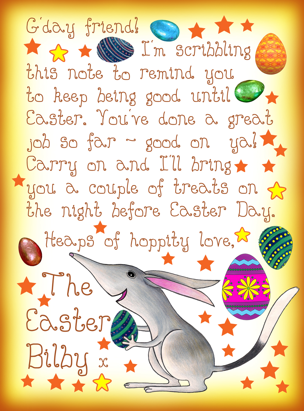Letter from the Easter Bilby saying keep being good