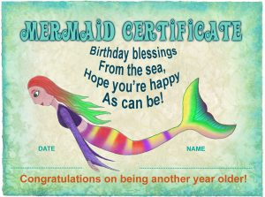 A certificate from the mermaids to wish you a happy birthday!