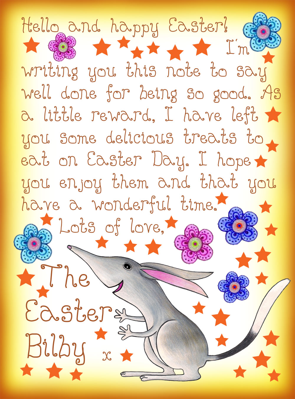 Free printable note from the Easter Bilby
