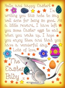 Easter Bilby note saying he has left you some Easter eggs