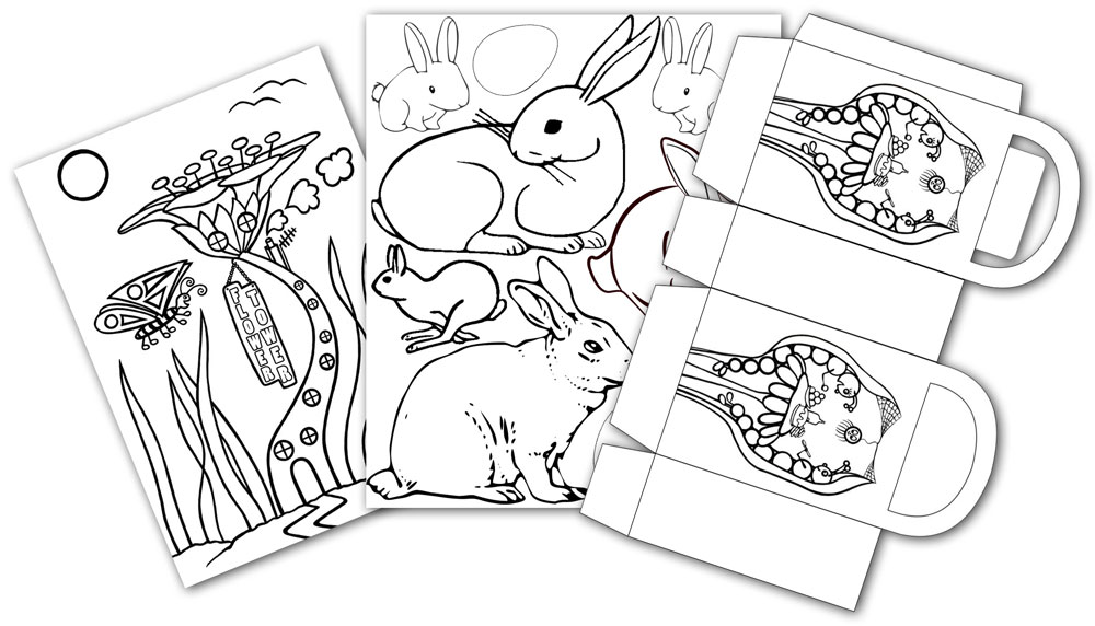 Printable spring colouring pages