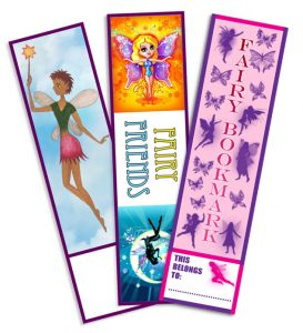 Three of our printable fairy bookmarks