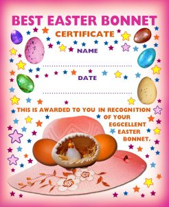 Printable award certificate for the person with the best Easter Bonnet