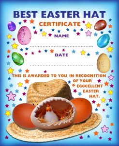 Printable award certificate for the person with the best Easter hat.