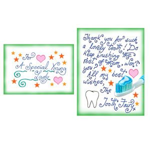 Make a miniature tooth fairy letter rooftop post printables tiny tooth fairy letter for a girl thanks and keep brushing spiritdancerdesigns Images