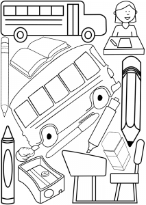 Printable colouring page with a back to school theme, includes pens, pencils and school buses