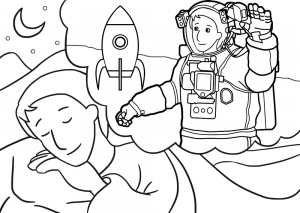 Printable colouring of a boy dreaming of being an astronaut.