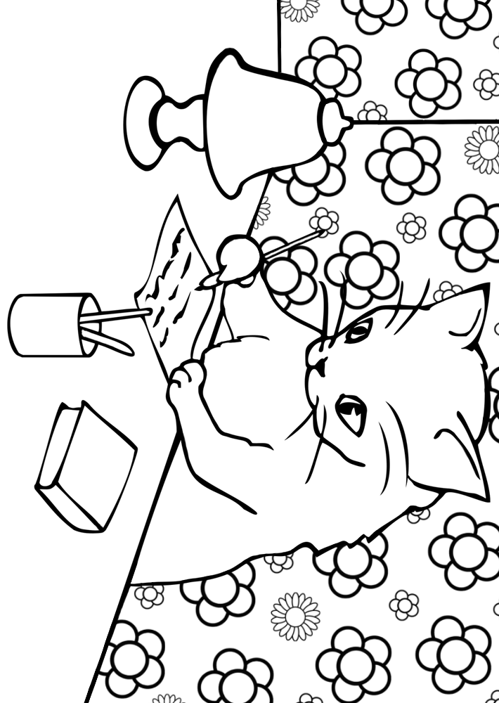 Printable colouring page of a cat writing a letter