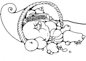 Printable colouring page of a Harvest Festival cornucopia