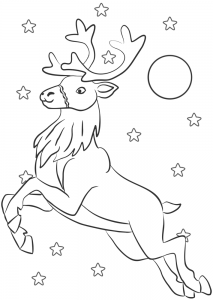 Printable colouring page of a reindeer flying through the night sky