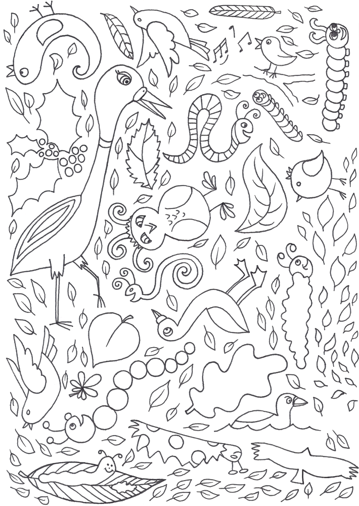 Printable colouring page of leaves, caterpillars and birds