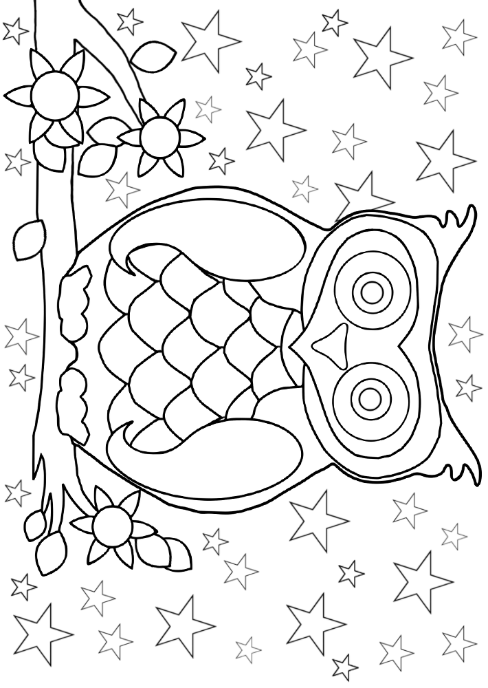 Printable colouring page of an owl sitting on a branch