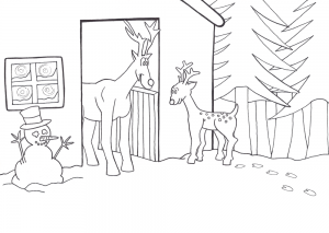 Printable colouring page of Rudolf the Reindeer in his stable.