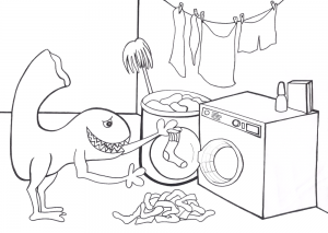 Printable colouring page of the Sock Monster, stealing socks. No wonder they go missing!