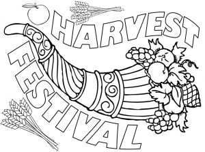 A picture of a cornucopia to print and colour for Harvest Festival.