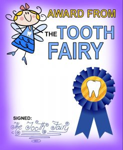 A free printable Tooth Fairy Award with a cartoon style fairy illustration.