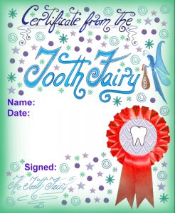 A blank certificate from the Tooth Fairy to add your own special message detailing the award you are giving your child. This one is decorated with stars, swirls and a cheerful red rosette.