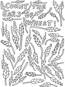 A printable activity for Harvest Festival - count the ears of wheat.