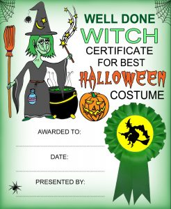 Printable witch-themed certificate for best Halloween Costume