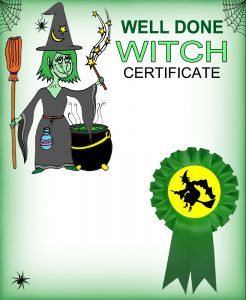 A blank reward certificate for the little witch in your life