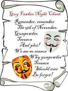 Printable first verse of the traditional Guy Fawkes Night chant